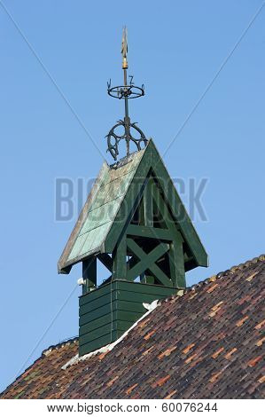 Wooden Belfry With Wind Vane And Compass Card