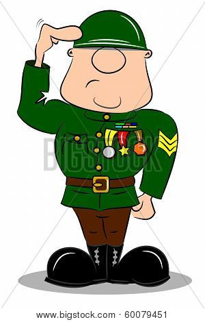 Cartoon Soldier Saluting