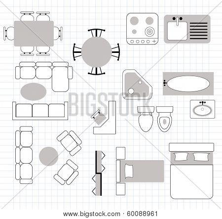 floor plan with furniture