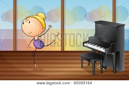 Illustration of a woman dancing near the piano