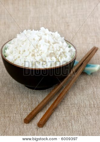 Plain White Rice With Chopsticks