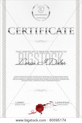 Silver certificate of achievement template, vector illustration