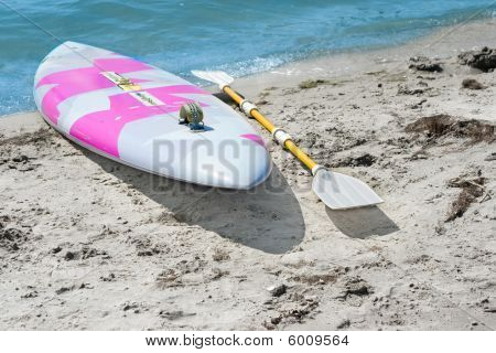 Surfboard With A Paddle