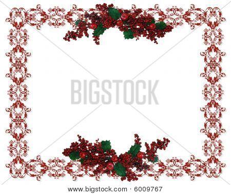 Christmas Border Holly Berries garland