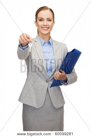 business, real estate, banking and office concept - smiling businesswoman with folder and keys
