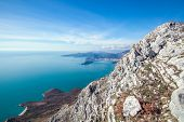 View of the seascape Montenegro in Balkans. Mountains and islands. Crna Gora. poster