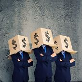 Businessman wearing carton box with dollar sign on head poster