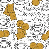 tea time seamless pattern with porcelain and cookies on white background poster