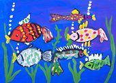 Child's gouache picture of some fishes in a sea bottom poster