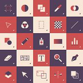 Flat design style modern vector illustration concept of abstract graphic design toolbar pattern with pictogram icons and elements for sketching and drawing on a computer. Isolated on stylish color background. poster