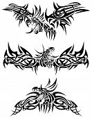 There are three tattoos with mythic dragons. poster