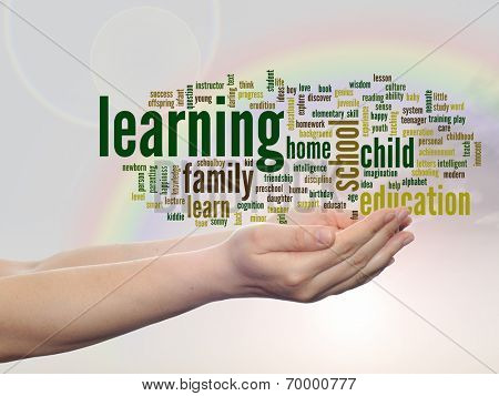 Concept or conceptual learning and education abstract word cloud, human man hand, rainbow sky background