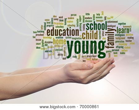 Concept or conceptual young and education abstract word cloud, human man hand, rainbow sky background