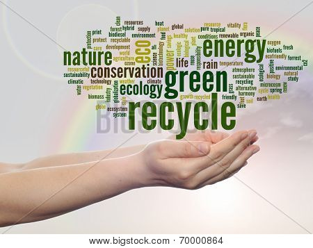 Concept or conceptual abstract green recycle and ecology, conservation word cloud text in man hand, rainbow sky background