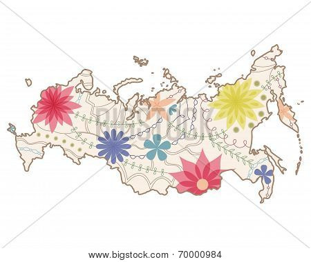 Russian painted map