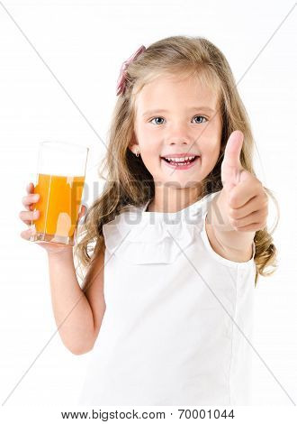 Happy Little Girl With Glass Of Juice And Finger Up