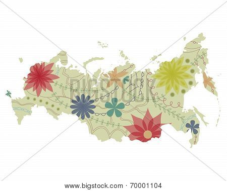 Russian map painted vintage