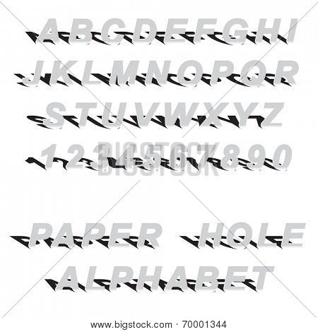 cutted paper latin alphabet letters and arabic numbers