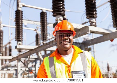 portrait of smiling african electrical engineer