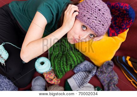 Beautiful Young Woman With Wool Hat