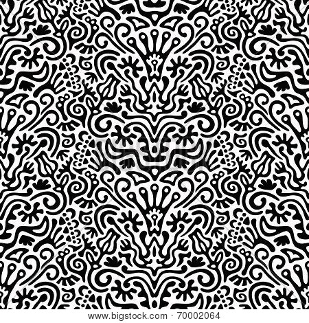 Funny Black and White Seamless Pattern Background with Flowers, Leaves, Crown, Egg, Key