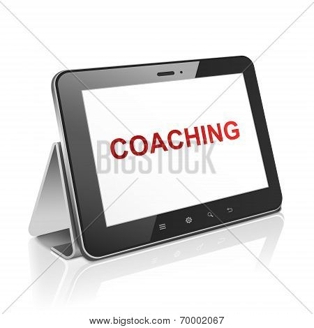 Tablet Computer With Text Coaching On Display