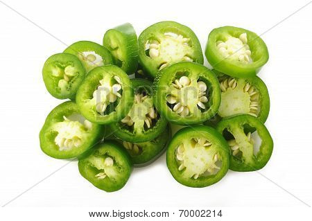 Sliced Green Jalapeno Peppers On White Background