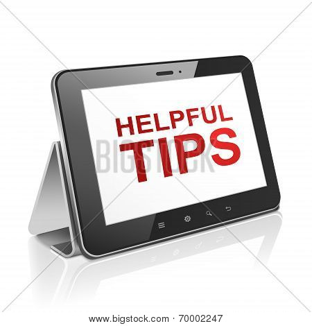 Tablet Computer With Text Helpful Tips On Display