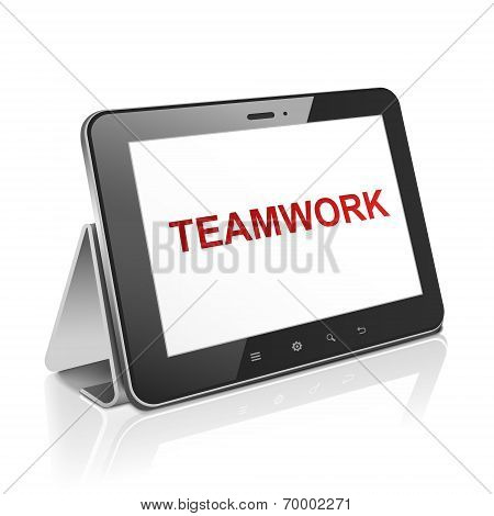 Tablet Computer With Text Teamwork On Display