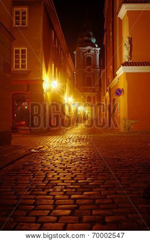 A church and cobbled street