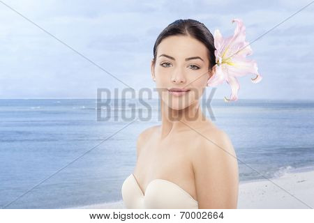 Nice woman face on the seaside