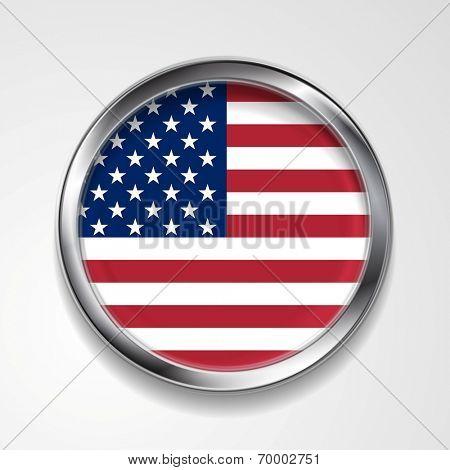 Abstract vector button with metallic frame. USA flag