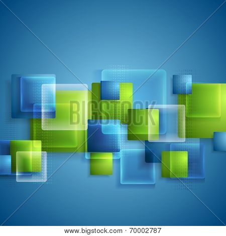 Bright glass transparent squares vector tech background