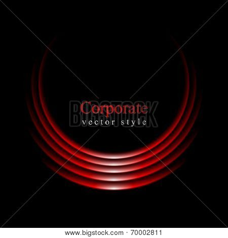 Glow vector red curve logo on black background