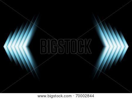 Bright glow blue arrows. Vector design