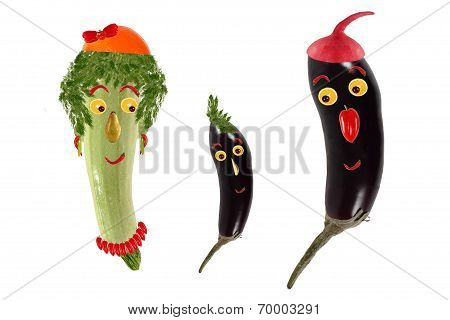 Funny Portrait Made of Zucchini,  Eggplants  And Fruits