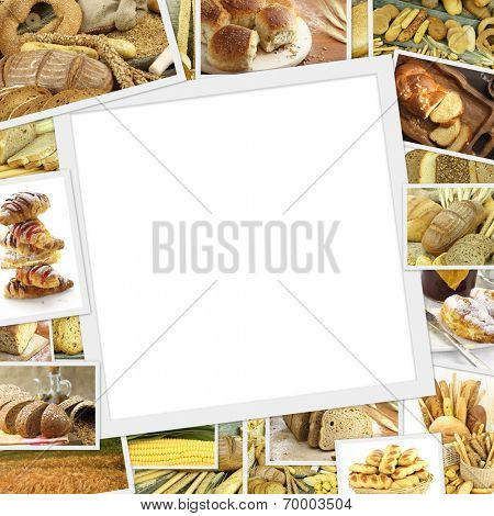Collage with baked goods and blank frame in the middle