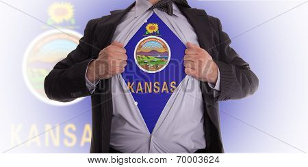 Businessman With Kansas Flag T-shirt