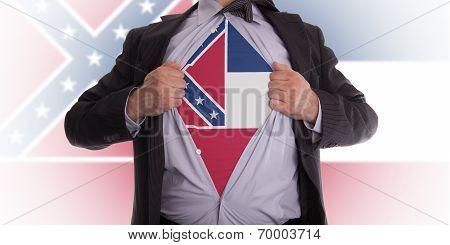 Businessman With Mississippi Flag T-shirt