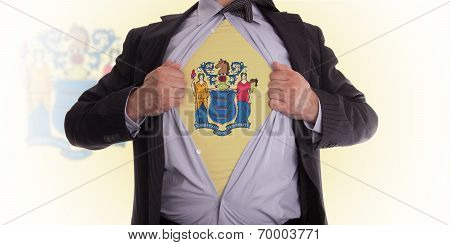 Businessman With  New Jersey Flag T-shirt