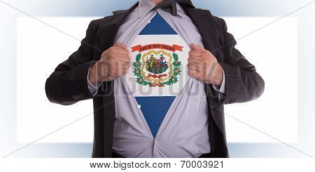 Businessman With West Virginia Flag T-shirt
