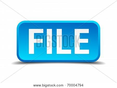 File Blue 3D Realistic Square Isolated Button
