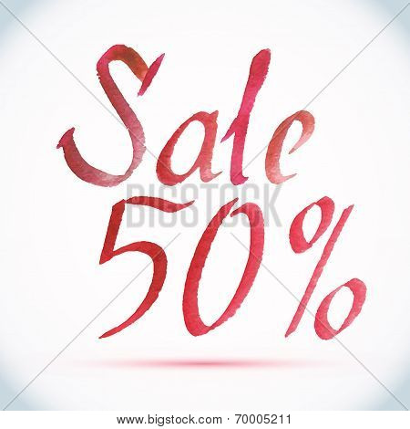 Vector watercolor calligraphy red paint splash inscription Sale