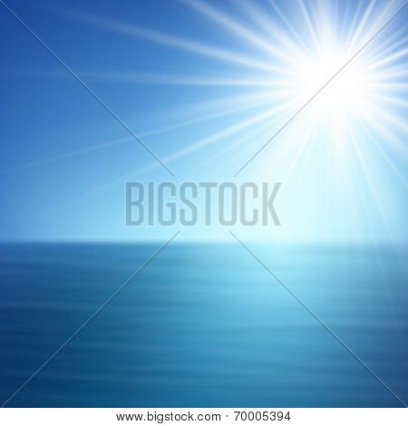 Summer sea and sky. Tropical background. Vector illustration.