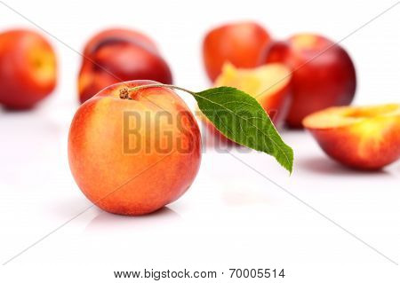 Several Sliced Nectarines Isolated On White
