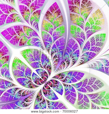 Fabulous Fractal Pattern In Purple And Pink. Collection - Tree Foliage. Computer Generated Graphics.