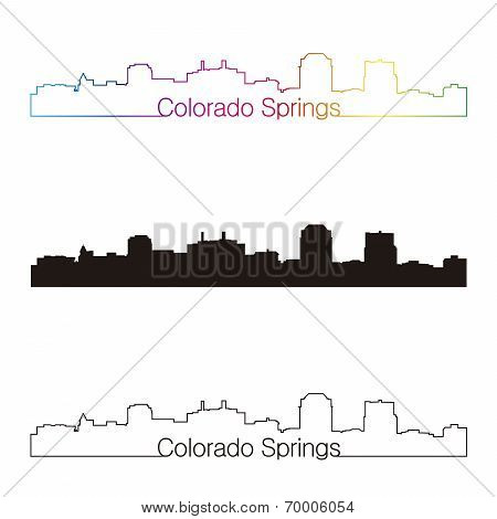 Colorado Springs Skyline Linear Style With Rainbow