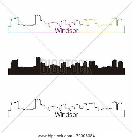 Windsor Skyline Linear Style With Rainbow