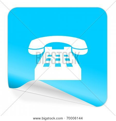 phone blue sticker icon