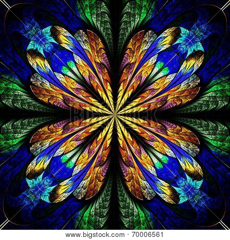 Symmetrical Pattern In Stained-glass Window Style. Blue And Brown Palette. Computer Generated Graphi